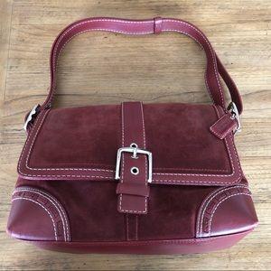 Burgundy Suede Coach Flap Shoulder Bag EXCELLENT!